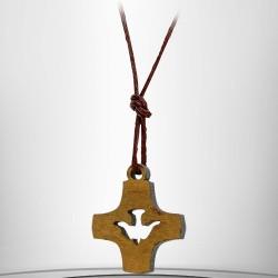 Croix-colombe en boisd'olivier 25mm avec cordelette
