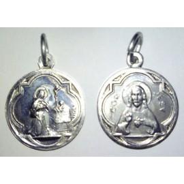 Médaille Sainte Rita Sacré Coeur, rond. 1,7 cm.