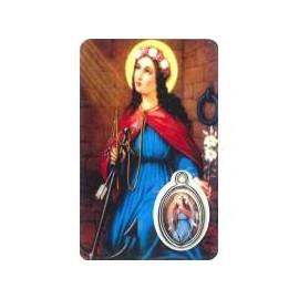 Carte-prière avec médaille - Sainte Philomène