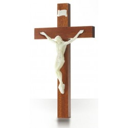 Croix en  acajou, Christ phosphorescent