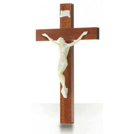 Croix en  bois acajou, Christ phosphorescent
