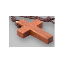 Croix en bois foncé 30mm avec cordelette