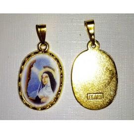 Sainte Rita ovale sur fond doré