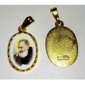 """Saint Pie (dit """"padre Pio"""") ovale sur fond doré"""