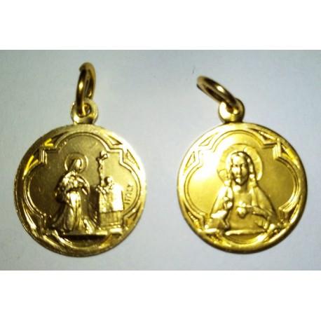 Médaille Sainte Rita et Sacré Coeur, rond. 1,7 cm.