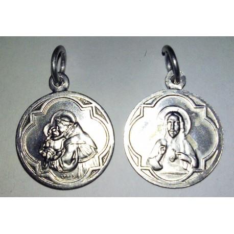 Médaille Saint Antoine et Sacré Coeur, rond. 1,7 cm.