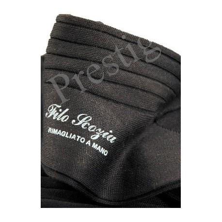 Chaussettes en fil d'écosse, courtes, à côtes, noires