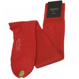 Chaussettes en fil d'écosse, longues, à côtes, rouges