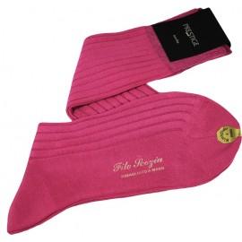 Chaussettes en fil d'écosse, longues, à côtes, roses-violettes