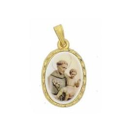 Saint Antoine, ovale sur fond doré