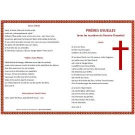 """Dépliant """"Prières usuelles"""" avec les mystères du Rosaire"""