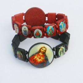"""Bracelet """"Sacré-Coeur et Saints"""", bois, noir ou brun"""