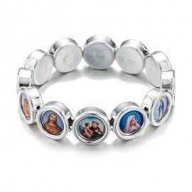 """Bracelet """"des Saints"""", plastique, or ou argent"""